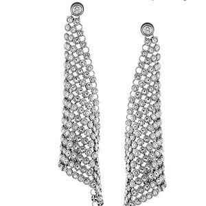 Michael Kors Glam Pave Silver mesh earrings
